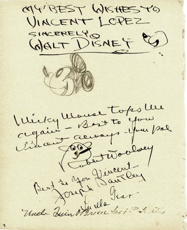0690: WALT DISNEY SIGNED DRAWING OF MICKEY MOUSE