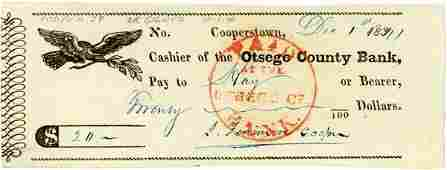 0747: JAMES FENIMORE COOPER SIGNED CHECK
