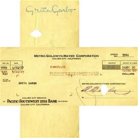 0971: GRETA GARBO SIGNED FILM CHECK