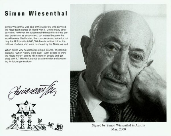 0005: SIMON WIESENTHAL SIGNED PHOTOGRAPH