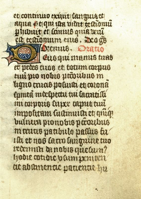 0012: MEDIEVAL BOOK OF HOURS VELLUM LEAF