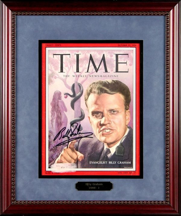 0022: BILLY GRAHAM SIGNED 1954 TIME MAGAZINE COVER