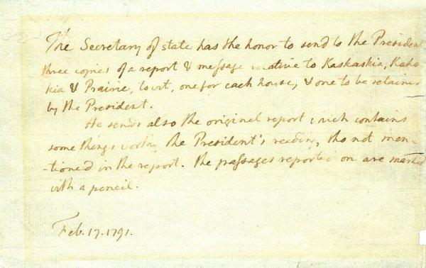 0373: THOMAS JEFFERSON HANDWRITTEN LETTER TO WASHINGTON