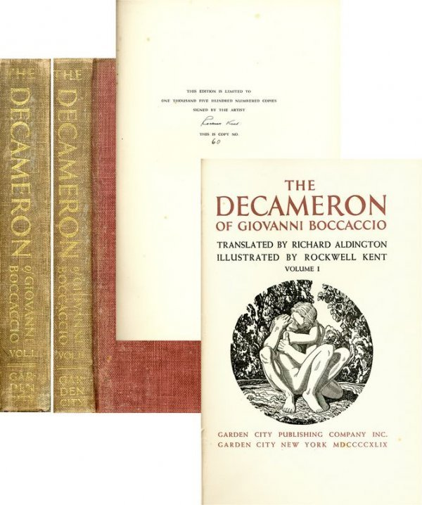 """0536: ROCKWELL KENT SIGNED """"THE DECAMERON"""" ILLUSTRATED"""