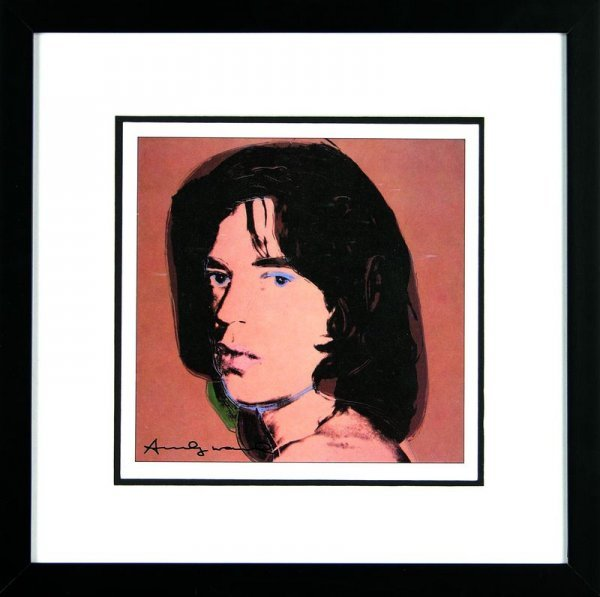 0543: ANDY WARHOL SIGNED BOOK PRINT OF MICK JAGGER