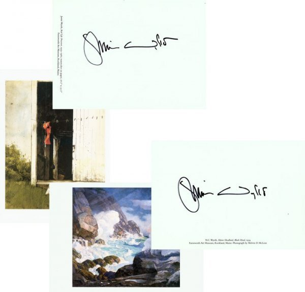 0546: JAMIE WYETH SIGNED 2 MUSEUM CARD COLOR PRINTS