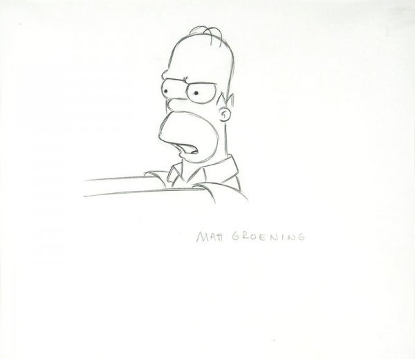 0554: MATT GROENING SIGNED SIMPSON PRODUCTION DRAWING - 2