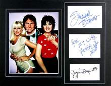 0889 THREES COMPANY CAST MEMBERS SIGNED CARDS DISPLAY