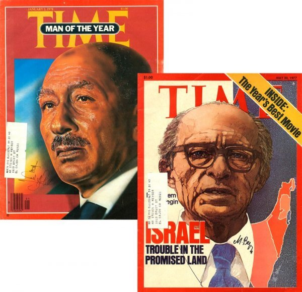 12: MENACHEM BEGIN / ANWAR SADAT SIGNED TIME COVERS
