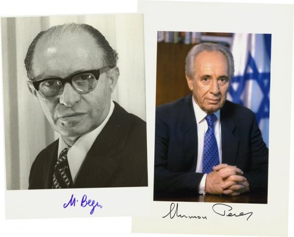 19: MENACHEM BEGIN / SHIMON PERES SIGNED PHOTOGRAPHS