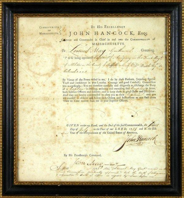 39: JOHN HANCOCK SIGNED REVOLUTIONARY WAR DOCUMENT