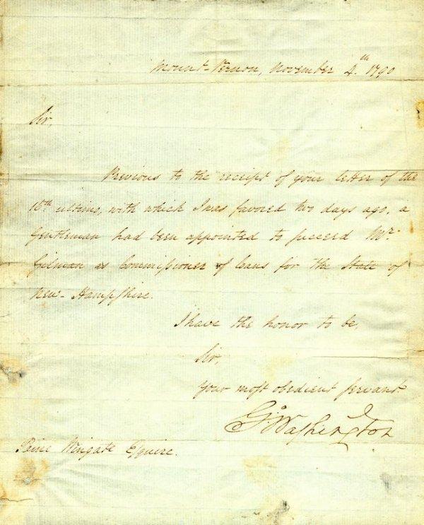 478: PRESIDENT GEORGE WASHINGTON SIGNED LETTER