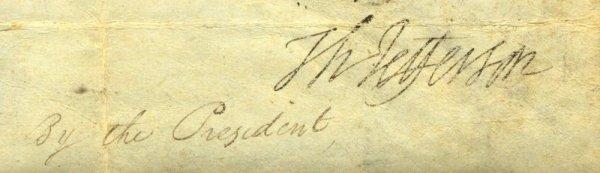 484: THOMAS JEFFERSON SIGNED SIGNATURE ON VELLUM