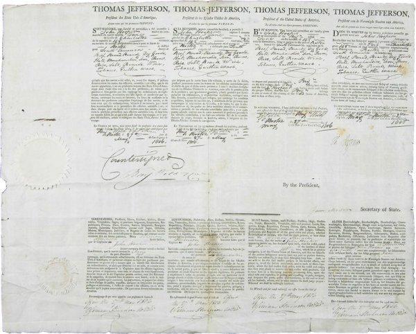 485: THOMAS JEFFERSON /JAMES MADISON SIGNED DOCUMENT