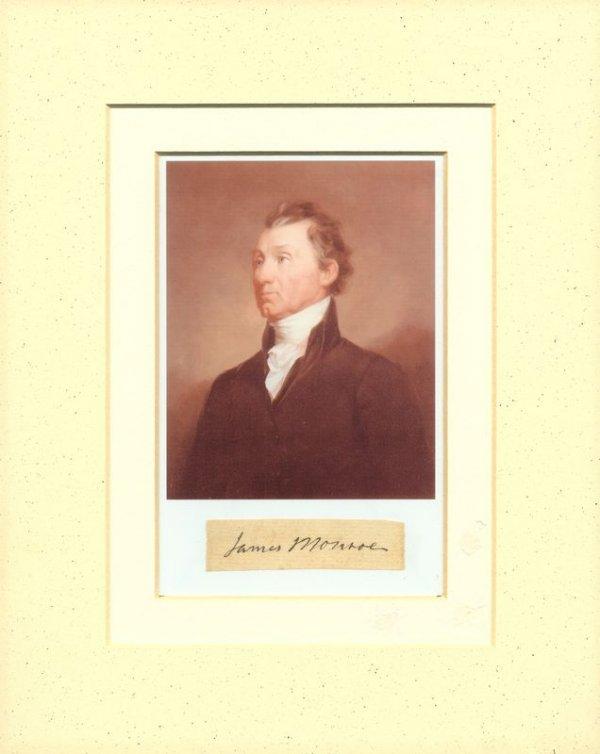 490: JAMES MONROE SIGNATURE W/PORTRAIT DISPLAY