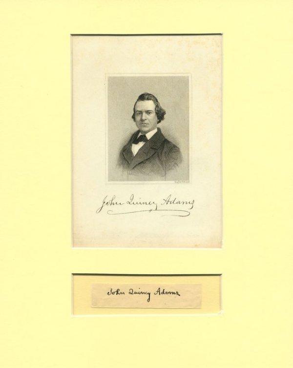 492: JOHN QUINCY ADAMS SIGNATURE W/PORTRAIT DISPLAY