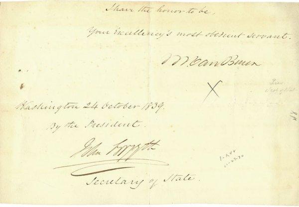 499: PRESIDENT MARTIN VAN BUREN SIGNED LETTER FRAGMENT