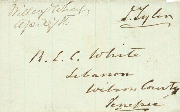 502: JOHN TYLER SIGNED HANDWRITTEN FREE FRANK
