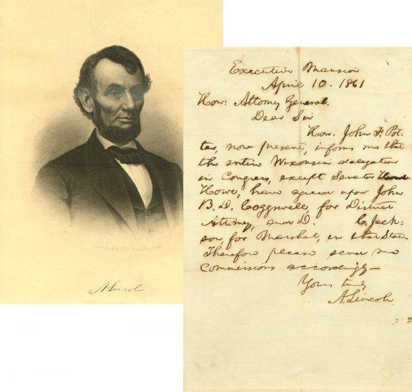 516: ABRAHAM LINCOLN 1861 HANDWRITTEN SIGNED LETTER