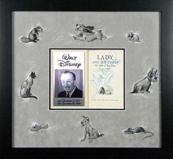 733: WALT DISNEY SIGNED LADY & THE TRAMP BOOK DISPLAY