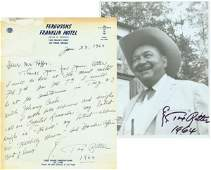 1024 TEX RITTER HANDWRITTEN SIGNED LETTER  PHOTO