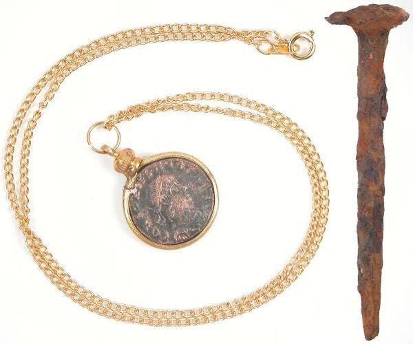 0005: LARGE ROMAN NAIL & BRONZE COIN PENDANT
