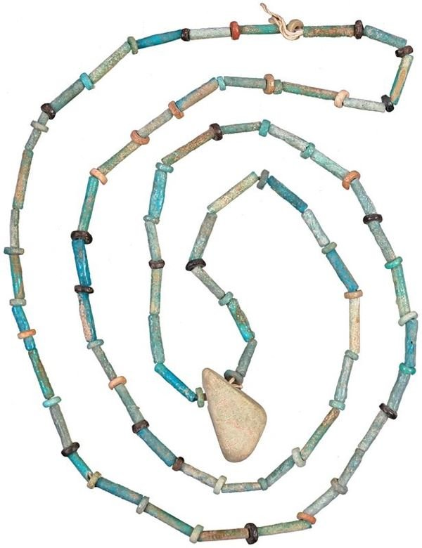 0008: EGYPTIAN FAIENCE NECKLACE W/ AMULET