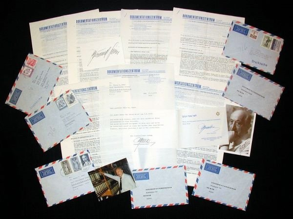 0020: SIMON WIESENTHAL SIGNED DOCUMENT LETTER ARCHIVE