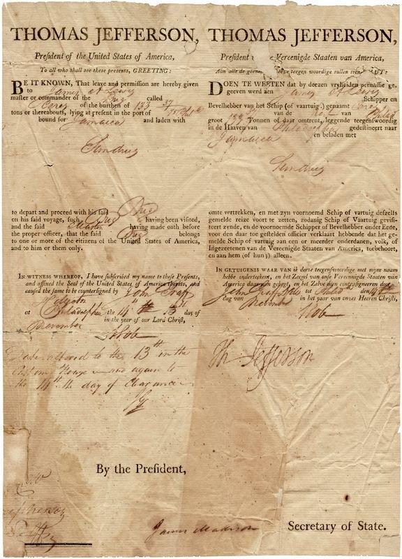 0469: THOMAS JEFFERSON & JAMES MADISON SIGNED DOCUMENT