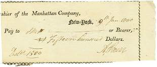 AARON BURR SIGNED DOCUMENT CHECK