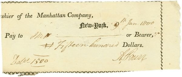 0472: AARON BURR SIGNED DOCUMENT CHECK