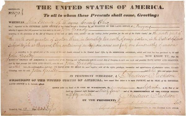 0476: ANDREW JACKSON SECRETARIAL SIGNED DOCUMENT