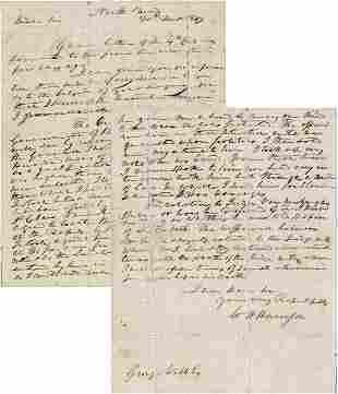WILLIAM HENRY HARRISON HANDWRITTEN SIGNED LETTER