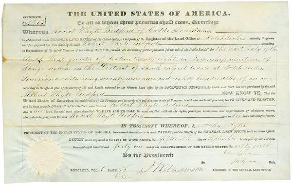0479: JOHN TYLER SECRETARIAL SIGNED DOCUMENT