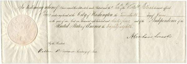 0484: ABRAHAM LINCOLN SIGNED DOCUMENT W/ SEWARD