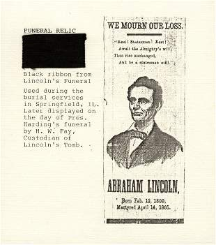 LINCOLN FUNERAL RIBBON