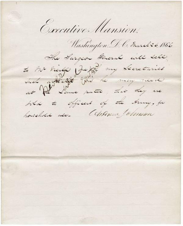 0487: ANDREW JOHNSON SIGNED DOCUMENT AS PRESIDENT