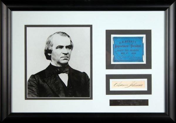 0488: ANDREW JOHNSON SIGNATURE IMPEACHMENT TICKET PHOTO