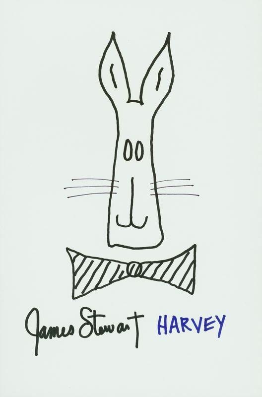 0818: JAMES STEWART SIGNED ORIGINAL HARVEY SKETCH