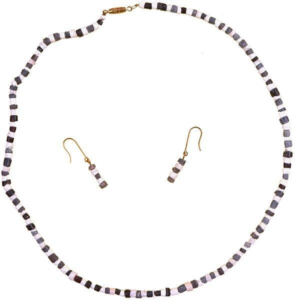 0006: BABYLONIAN STONE BEAD NECKLACE & EARRINGS