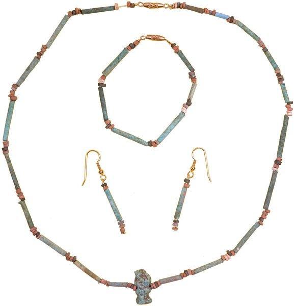0012: EGYPTIAN NECKLACE W/AMULET & BRACELET & EARRINGS