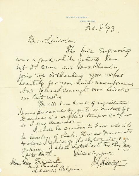 GENERAL JOSEPH HAWLEY HANDWRITTEN SIGNED LETTER