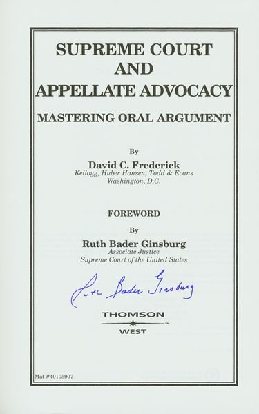 0386: RUTH BADER GINSBERG SIGNED BOOK FIRST PRINTING - 2