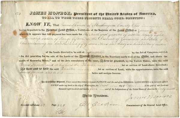 0474: JAMES MONROE SIGNED OHIO LAND GRANT