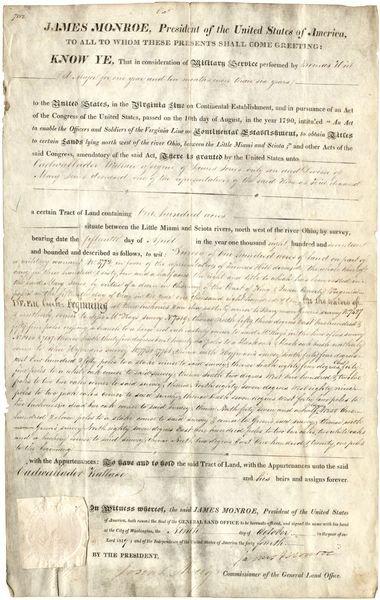 0475: JAMES MONROE SIGNED MILITARY LAND GRANT