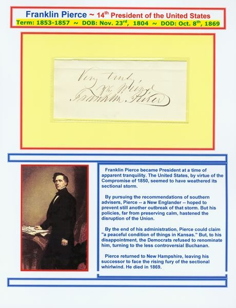 0480: FRANKLIN PIERCE SIGNED SIGNATURE W/PIC