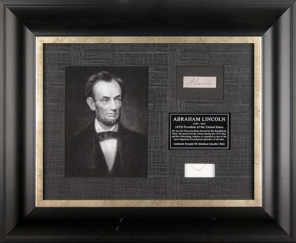 0484: THREE STRANDS OF ABRAHAM LINCOLN HAIR W/ PIC