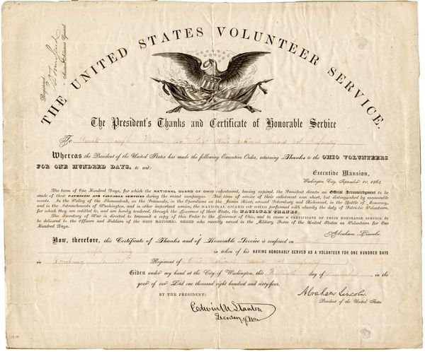 0486: LINCOLN PRESIDENTIAL OHIO MILITARY DOCUMENT