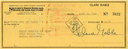 0806: CLARK GABLE SIGNED CHECK DOCUMENT