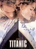 0901: DICAPRIO & WINSLET SIGNED TITANIC PREMIERE PHOTO